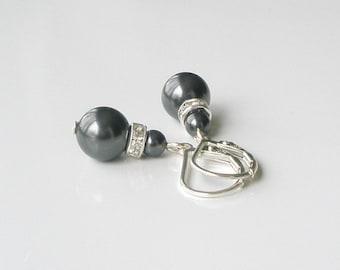 Black Pearl Earrings, Pearl and Sterling Drop Earrings, Bridesmaid Gift, Black Jewelry,  Pearl and Crystal Earrings, Wedding Jewelry