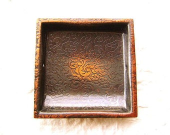 Vintage Japanese Door Pull - Door Pull Gold Black - Flowers and Tree - Traditional Japanese - Copper Square Set of 3 (Set No.2)