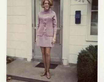 Vintage photo 1969 Cute Cat eye GlassesBig Hair Lavender Crochet Vest Fashion purple