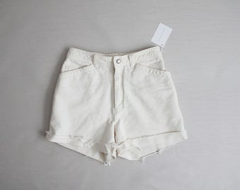 white textured cut offs | high waist shorts | 90s white shorts