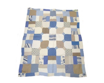 Wool blanket quilt throw white blue taupe 46 x 38