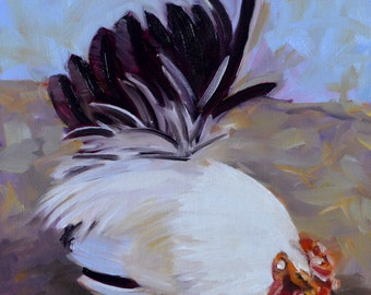 An Oil Painting of a Rooster