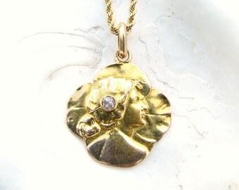 Antique Art Nouveau Diamond Pendant Necklace, Fiery Old Cut Diamond Adorning an Elegant Woman, 18K Gold, with Chain