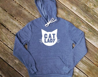 Cat Lady Heather Navy Blue Hoodie Sweatshirt - Gift for Her, Cat Mom, Cat Lover, Animal Lover, Kitty Fan, Meow, Cat Crazy, cozy