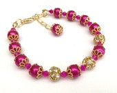 Hot Pink Jewelry, Cerise Pink Bracelet, Pearl and Rhinestone Bridesmaid Jewelry, Single Strand Bracelet, Hot Pink Gift For Bridesmaids