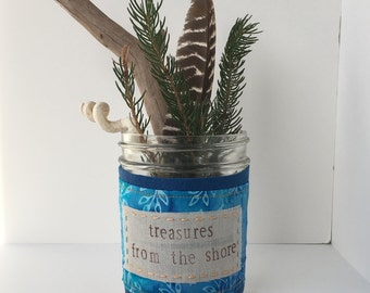 Treasures from the Shore -- wool and linen jar embellishment--upcycled scrap wrap for nature study and display