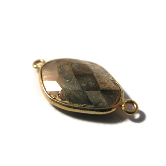 Irregular Pyrite Charm, Fool's Gold Pendant with Gold Plated Bezel, Faceted Double Sided Gemstone, Two Loops (C-Py3b3)