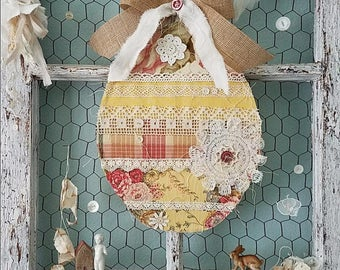 Easter Egg, Hanging Easter Decor, Fabric Egg, Easter Wreath, Yellow Decor, Spring Decoration, Farmhouse Style, Rustic, Shabby Chic Decor
