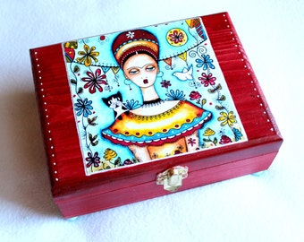 Large Jewelry Box, Frida and Cat Wood Box, Whimsical Art Box, Mexican Garden Style, Day of the Dead, Burgundy Blue, Girl w/Cat