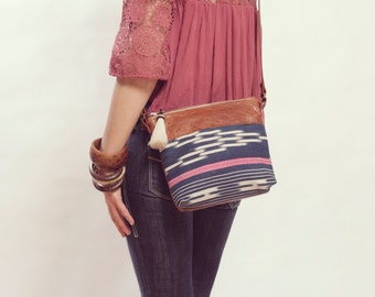 Boho Day Bag, Tribal Crossbody Bag, Boho Crossbody, Boho Ethnic Bag, Boho Chic Bag, Small Leather Crossbody, Small Ethnic Purse