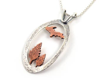 Handmade Red Autumn in the Upper Peninsula Mixed Metal Sterling Silver, Copper Pendant