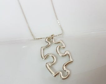 Autism necklace Sterling silver, Autism awareness necklace, Puzzle piece necklace