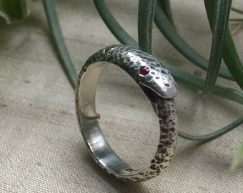 Ruby and Sterling Silver- Larger Ouroboros Ring