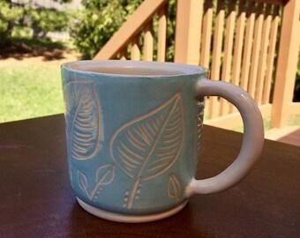 Pottery Mug - Blue Leaf Mug - Handmade Pottery and Ceramics