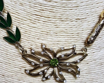 Green enameled leaves with Statement gold sequinned flower necklace