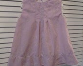 Vintage Handmade Baby Dress - Lavender Dotted Swiss - Embroidered Hearts