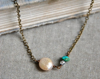 Coin pearl and turquoise beaded necklace,boho necklace,gemstone necklace,champagne pearl necklace. Tiedupmemories