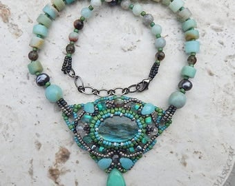 Seafoam and Sage Labradorite Beadwoven Necklace with Amazonite, Peruvian Opal, Apatite, Turquoise, Freshwater Pearls and Grey Moonstone