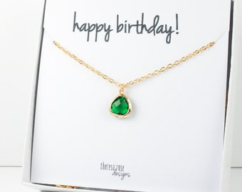 Tiny May Birthstone Gold Necklace, Emerald Gold Necklace, May Birthday Jewelry, Personalized Gold Necklace, Gifts Under 20