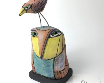 "Owl art, handmade one of a kind ceramic owl art,""Owl Person and the Red Bird Talking"", 6-5/8"" tall"