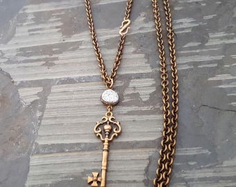 Solid Bronze Skeleton Key Pendant Necklace, Silver Druzy, French Antique Gold Brass Chain Necklace, Wrap Around Necklace, Very Long Chain