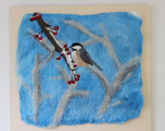Winter Berries-Felted Wool Wall Hanging