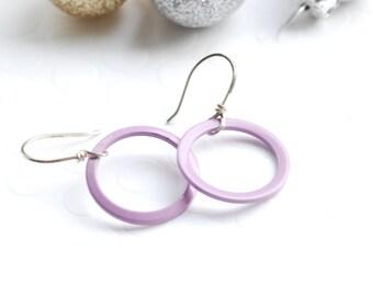 Lavender Earrings, Simple Statement Earrings, Painted Circle Earrings, Sterling Silver Earrings, Pastel Earrings, Mauve Earrings, Geometric