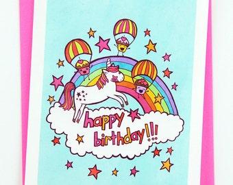 Happy Birthday Unicorn and Cupcakes - funny birthday card for girlfriend birthday card best friend unicorn cute birthday card for kids