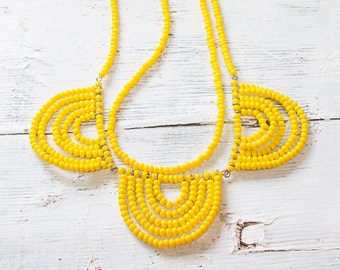 Beaded Bib Necklace, Chunky Necklace, Yellow Necklace, Statement Bib Necklace, Seed Beads Necklace, Beaded Necklace