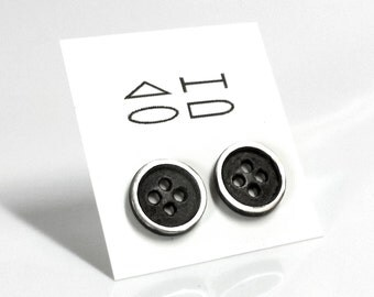 SALE - Button Earrings - Oxidized - Sterling Silver - Sewing - Button Studs - Rustic - Button Posts - Button Jewelry - Made In Brooklyn