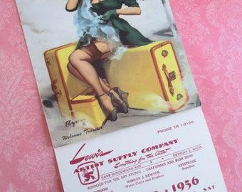 Vintage Gil Elvgren Pin-up Advertising Calendar - October 1956