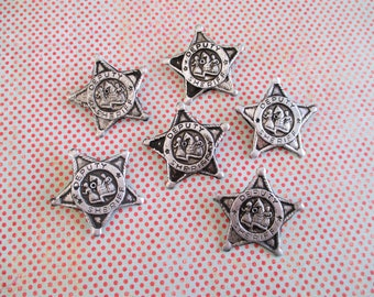 Six Little Vintage Tin Litho Deputy Badges