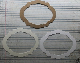 "3 Bare chipboard or cardstock ornate oval frame Diecuts 5"" x 3 7/8"""