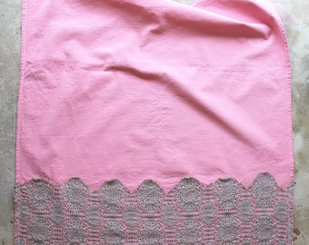 Blush Pink Hand Dyed Tea Towel with Lace Trim - Vintage Style Tea Towel - Pink and Grey Dish Towel