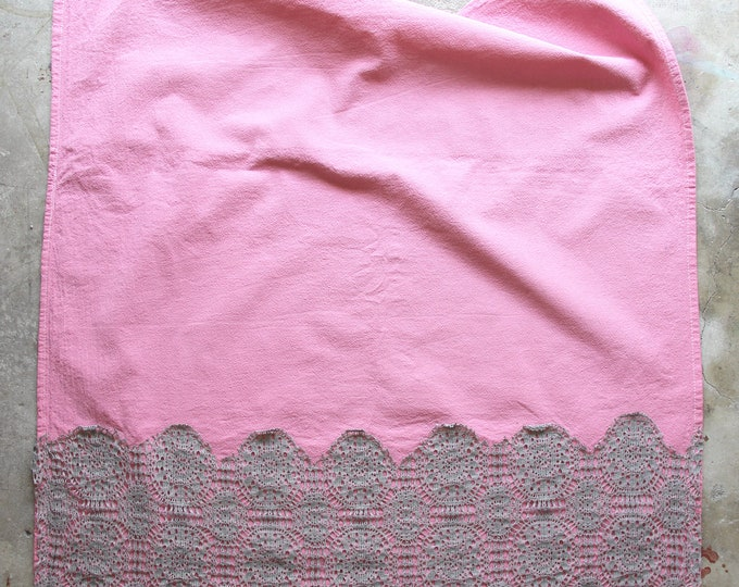 Blush Pink Hand Dyed Tea Towel with Lace Trim