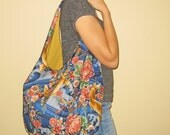 Slouch, Shoulder, Hobo Bag Asian Koi and Dragonflies Fabric Design