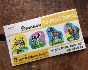 Vintage Dennison Farmyard Friends Farm Animals Gummed Seals (Stickers, Decals) - Book of 48 Seals