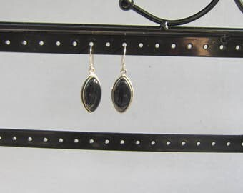 Vintage Sterling Silver and Black Onyx Dangle Drop Earrings Marquise Shape     0496