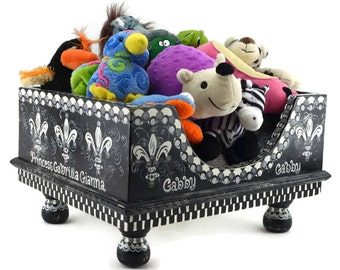 Gabby's Whimsy Pet Toy Box, Hand-Painted Doggie Toy Box, Fleur de lis Toy Box, Black & White Toy Box