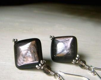 Hypersthene Earrings, Black Gemstone Sterling Silver Earrings, Luminous Shimmery Gemstone Diamond Shape Earrings, Black Shimmer Earrings