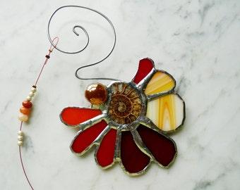 Beautiful Stained Glass Suncatcher Sunflower with Genuine Ammonite Fossil - Double Spiral - Red Orange Yellow Crimson