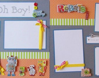 12x12 Scrapbook Layout -- OH BOY -- 12x12 Premade Pages - RoBoTS