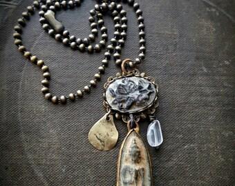 Amulet, Thai, Buddhist, Talisman, Crystal, Vintage, Brass, Butterfly Charm, Spiritual, Monk, Beaded Necklace