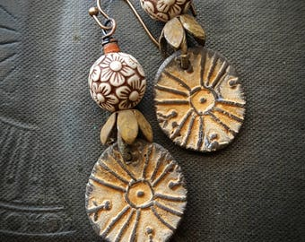 Rustic, Tribal, Clay Flowers, Summer, Peach, Creams, Clay Beads, Organic, Primitive, Artisan Made, Beaded Earrings