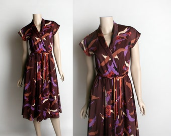 Vintage 1970s Sheer Floral Dress - Maroon & Purple Flower Print Wraps Style Dress with Rope Belt - Small