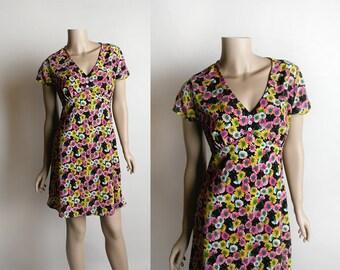 Vintage 1990s Dress - Grunge Floral Babydoll Dress - Esprit - Daisy Print - Floral Dress - Emprie Waist - Small