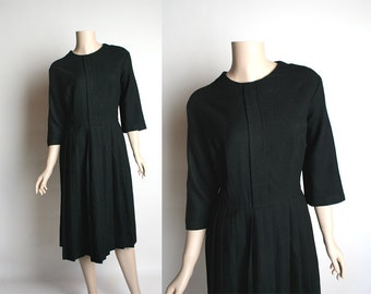 Vintage Little Black Dress - 1960s Black Wool Pleated Skirt Classic Dress - Medium Large