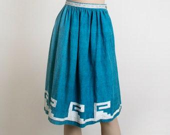 Vintage Guatemalan Skirt - Woven Turquoise Blue 1950s Ethnic Folk Skirt - Wave Mouse Swirl Design - Border Print - Bohemian Boho - Small