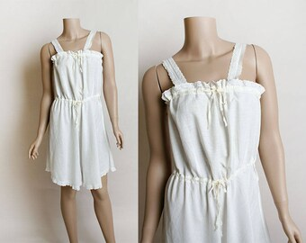 Edwardian Cotton Camiknickers - Cotton Eyelet Trim - Romper Playsuit Undergarment - Vintage 1910 Lingerie - Medium