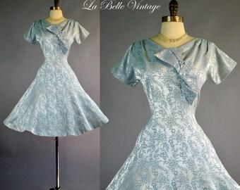 1950s Brocade Dress L ~ Vintage 50s Blue Satin Dress R K Originals Cocktail Party Frock
